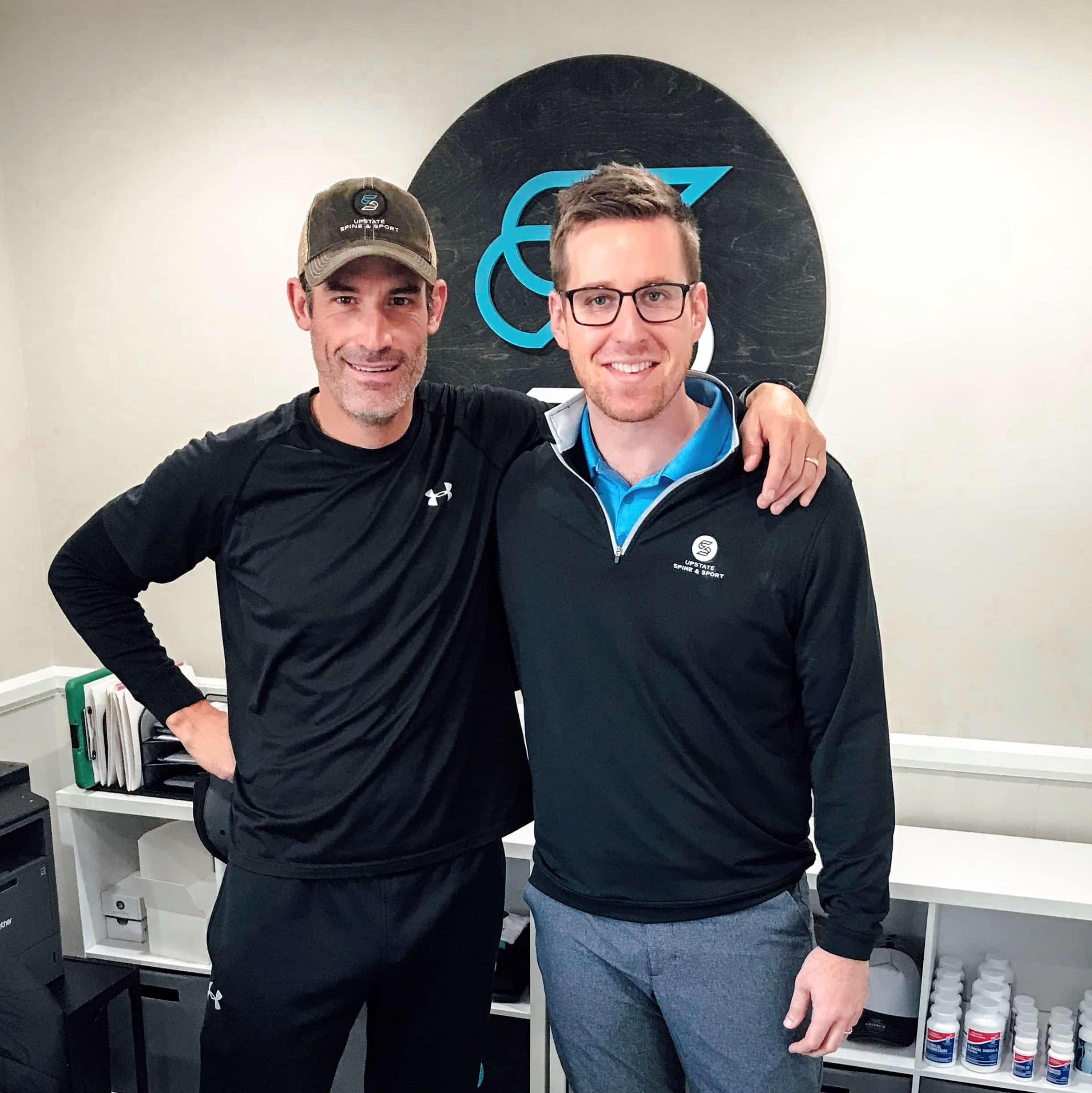 Dr. David Jolson Greenville Chiropractor & sports therapist with World Champion Cyclist George Hincapie